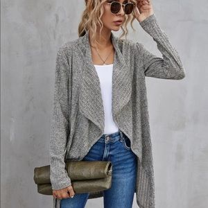 Sweaters - Solid Waterfall Color Open Front Coat
